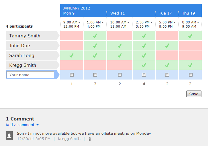 scheduling sample